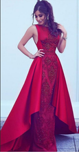 Load image into Gallery viewer, 2019 Long New Style Red Scoop Sleeveless Mermaid Satin Beads Prom Dresses RS388