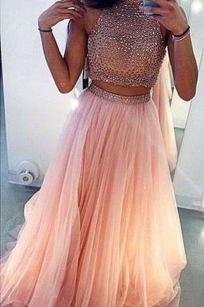 Charming A-Line Beading Two Pieces Long High Neck Tulle Floor-Length Prom Dresses RS216
