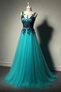New Fashion Blue Tulle Formal Gown Lace Black Evening Gowns Tulle Formal Gown For Teens RS692