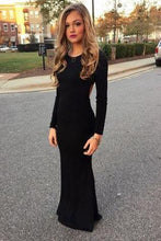 Load image into Gallery viewer, New Style Black Elegant Mermaid Simple Scoop Prom Dresses with Long Sleeves For Teens RS28
