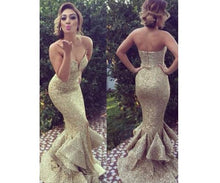 Load image into Gallery viewer, long gold sequin sparkle mermaid charming prom dress sweetheart prom dress 141509
