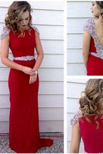 Load image into Gallery viewer, Long Prom Dress Red Prom Dress Party Chiffon Prom Dress Sheath Evening Dress Gown RS706