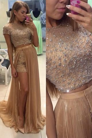 Pd12223 Charming Prom Dress O-Neck Prom Dress A-Line Chiffon Noble Two Pieces Prom Dresses uk