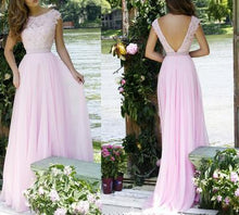 Load image into Gallery viewer, Pink Lace Bodice Prom Dresses Modest Long Evening Gowns For Formal Women Party Gown RS73