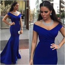 Load image into Gallery viewer, Pd01075 Charming Cap-Sleeves Mermaid Evening Dress Satin Noble Pleat Prom Dresses RS647