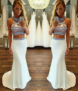 Hot Sale Charming Two Pieces Beading Mermaid Evening Dress Chiffon 2 Pieces Formal Dress RS723