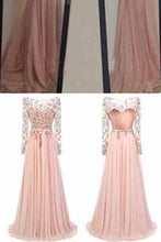 Load image into Gallery viewer, Long Sleeve Backless Long Sexy Lace Pink Beads A-Line Scoop Prom Dresses RS943