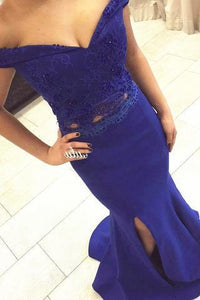 Two Piece Off the Shoulder Sweetheart Mermaid Side Split Long Royal Blue Prom Dresses RS150