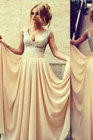 Champagne Nude Chiffon Long Off the Shoulder V-Neck Sequin Beads Bodice Prom Dresses RS07