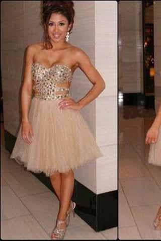 Champagne Short Prom Dresses 2019 Homecoming Gowns Tulle Homecoming Dresses RS905