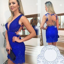 Load image into Gallery viewer, Homecoming Dress Lace Royal Blue Homecoming Dress Fitted Short Prom Dresses RS893