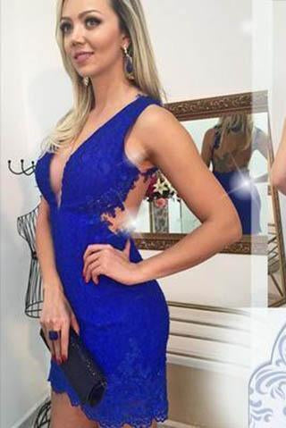 Homecoming Dress Lace Royal Blue Homecoming Dress Fitted Short Prom Dresses RS893