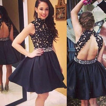 Load image into Gallery viewer, Prom Dress Lace Prom Dress Black Prom Dress Fitted Prom Dress Short Prom Dress RS607