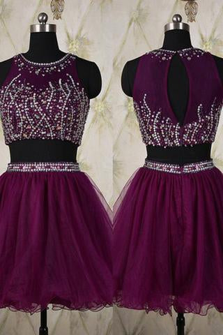 Two Pieces Silver Beading Short Sweet 16 Dress Tulle Halter Open Back Homecoming Dresses RS436