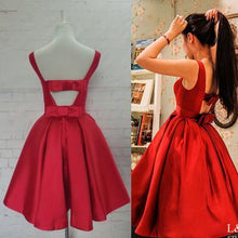Load image into Gallery viewer, Red Homecoming Dresses Satin Homecoming Dress Party Dress Prom Gown Sweet 16 Dress RS890
