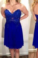 Load image into Gallery viewer, Tulle Lace Homecoming Dress Royal Blue Fitted Homecoming Dress Short Prom Dresses RS914