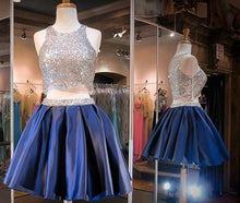 Load image into Gallery viewer, Navy Blue Two Piece Beading Short Prom Gown Sweet 16 Dress Bling Homecoming Dress RS877