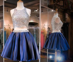 Navy Blue Two Piece Beading Short Prom Gown Sweet 16 Dress Bling Homecoming Dress RS877
