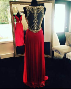 Red Open Back Backless Sparkle Long Open Backs Prom Dress Sparkly Evening Formal Gown RS939