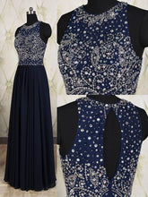 Load image into Gallery viewer, Navy Blue Elegant Long Beaded Chiffon Pageant Formal Gowns