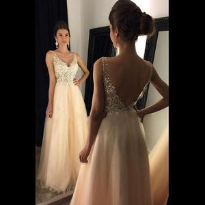 Sparkly V Neck Prom Dress Sexy Backless Evening Dress Tulle Long Prom Gown RS120