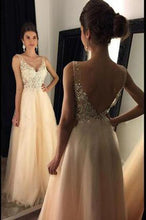 Load image into Gallery viewer, Sparkly V Neck Prom Dress Sexy Backless Evening Dress Tulle Long Prom Gown RS120