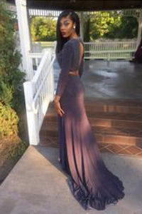 New Arrival Long Sleeve Long Evening Formal Dress Two Piece Prom Dress Split Prom Dresses RS85