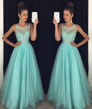 Load image into Gallery viewer, Light Blue Crystal Long A-Line Prom Dress Halter Prom Dress Open Back Prom Dress RS121