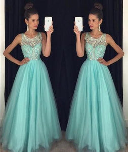 Light Blue Crystal Long A-Line Prom Dress Halter Prom Dress Open Back Prom Dress RS121