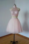 Two Pieces Pretty Sexy Charming Beading Halter Tulle Blush Pink Homecoming Dresses H97