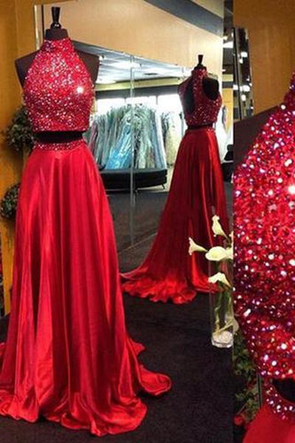 Burgundy Two Piece Beading Halter Open Back Carpet Long With Slit Prom Dresses RS152