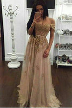 Load image into Gallery viewer, Off the shoulder Gold Prom Dress Long Prom Dresses Prom Dresses RS680