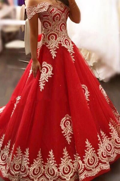 Red organza lace applique off-shoulder short sleeves A-line long prom dresses princess dresses