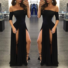 Load image into Gallery viewer, Sexy Black Long Off-the-Shoulder A-Line Half Sleeve Scoop Sexy Slit Prom Dresses RS790