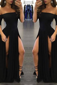Sexy Black Long Off-the-Shoulder A-Line Half Sleeve Scoop Sexy Slit Prom Dresses RS790