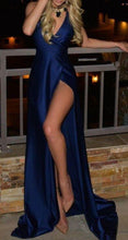 Load image into Gallery viewer, Royal Blue Long Cheap Slit Satin Deep V-Neck Sleeveless Floor-Length Prom Dresses RS830
