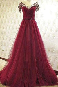 Pd61139 Charming Prom Dress Tulle Prom Dress Beading Prom Dress A-Line Evening Dresses uk