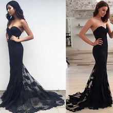 Load image into Gallery viewer, Mermaid Sexy Sweetheart Strapless Lace Sleeveless Popular Long Evening Dresses RS816