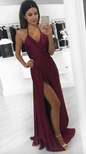 New Fashion Modest Sexy A-Line Burgundy Slit Halter Backless V-Neck Prom Dresses RS761