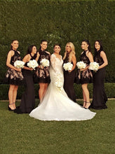 Load image into Gallery viewer, Halter Pearl Pink Open Back Bridesmaid Dress with Black Lace RS417