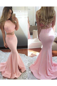 Long Satin Two Piece Sleeveless Sexy Mermaid Pink Halter Open Back Evening Dresses RS769