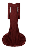 Long Mermaid Sweetheart Long Sleeve Burgundy Evening Dresses Lace Prom Dresses RS740