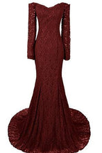 Load image into Gallery viewer, Long Mermaid Sweetheart Long Sleeve Burgundy Evening Dresses Lace Prom Dresses RS740