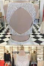 Load image into Gallery viewer, Stunning White Satin Two Pieces Sequins Rhinestone Round Neck A-line Prom Dresses RS814