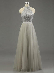 High Quality Long Prom Gown Tulle Ruffled Bridal Dress Princess Light Grey Gray Prom Gowns RS671