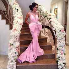 Load image into Gallery viewer, Pink Mermaid Satin Sheer Backless Prom Dress Sexy Formal Dress Bling Prom Dresses RS722