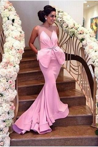 Pink Mermaid Satin Sheer Backless Prom Dress Sexy Formal Dress Bling Prom Dresses RS722