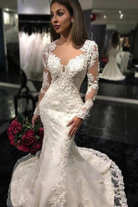 Sexy White Yarn Button Back Long Sleeve Lace Mermaid Charming Chapel Trailing Wedding Dress RS171