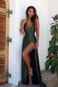 Elegant Simple Sexy Backless High Split Long V-Neck Open Back Green Prom Dresses RS437