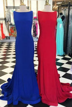 Load image into Gallery viewer, Simple Bateau Neck Sleeveless Sweep Train Royal Blue / Red Prom Dress Backless
